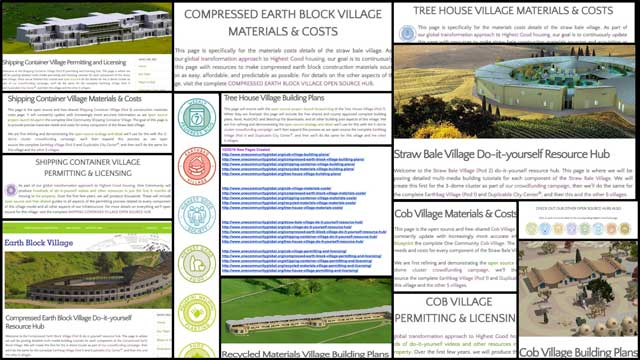 The core team also updated created 20 new pages of the web infrastructure for sustainable village #'s 3-7. You can see a collage of this work here and access them all through the site map.
