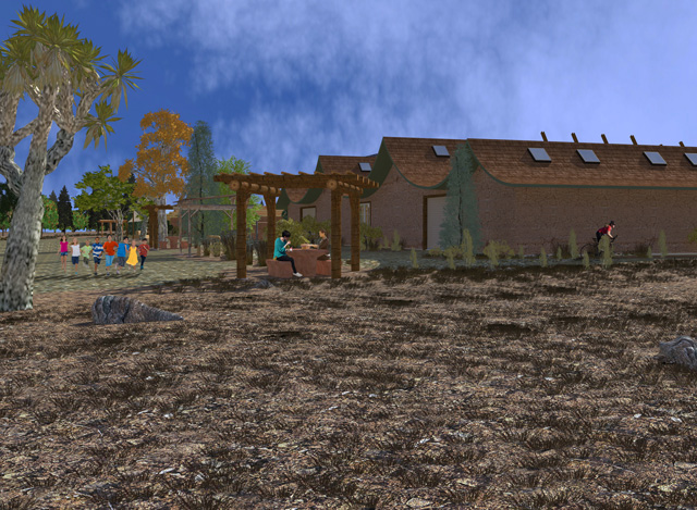 One Community Cob Village Back View Looking Southeast final render