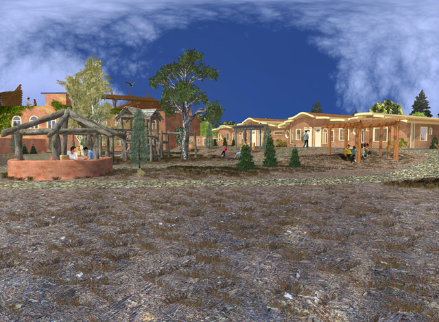 One Community Cob Village Center View Looking Northwest final render