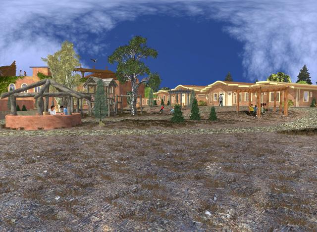 One Community Cob Village Center View Looking Northwest final render