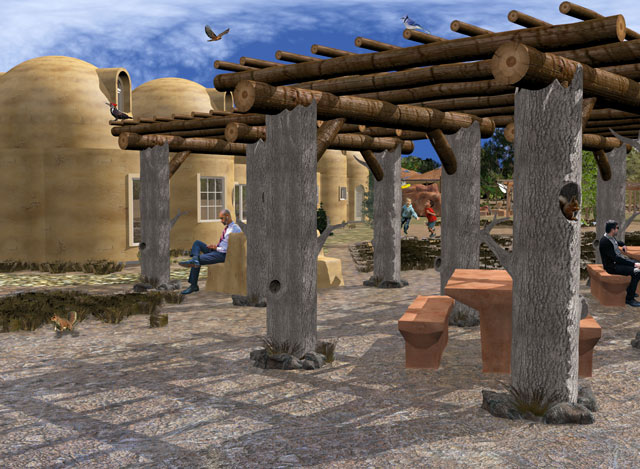 Adding details Dean's previous work, Guy Grossfeld (Graphic Designer) added people and nature elements to create this new final render of the Front External View Looking East for the Cob Village.