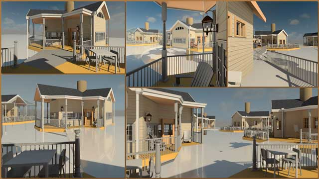 Jiming Chen (Designer with his Master's in Architecture and BA in Engineering) also continued helping develop the Tree House Village (Pod 7). What you see here is his 10th week of this work focusing on test rendering a variety of different perspectives within the village.