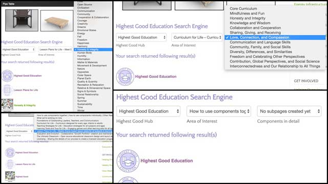 Ashwin Patil (Web Developer) also completed the search engine functionality for the Highest Good education component. You can see a collage of this new functionality here.
