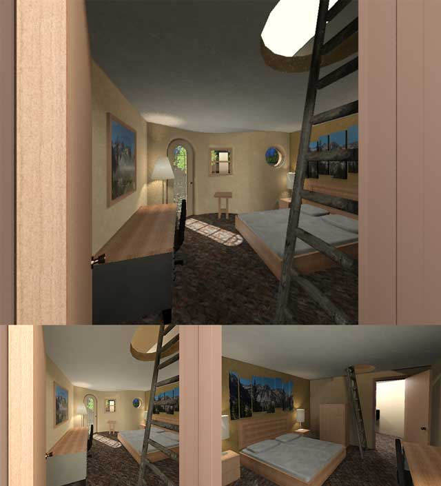 And Dean Scholz (Architectural Designer), continued helping us create quality Cob Village (Pod 3) renders. Here is update 52 of his work that continues focusing on lighting, texture and other aesthetic details inside the homes. In the video portion of the blog you can see the progression of a series of 72 renders showing this development and wrapping up with his final 3 newest ones: