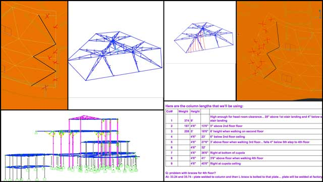 "Haoxuan ""Hayes"" Lei (Structural Engineer) and Shuna Ni (Masters of Mechanical Engineering and Civil Engineering PhD) also continued their work on the City Center structural engineering. This week's focus was continuing the roof designs, updates to the dome geometry, and continuing to work out the details for the different column-section length and weight specifics."