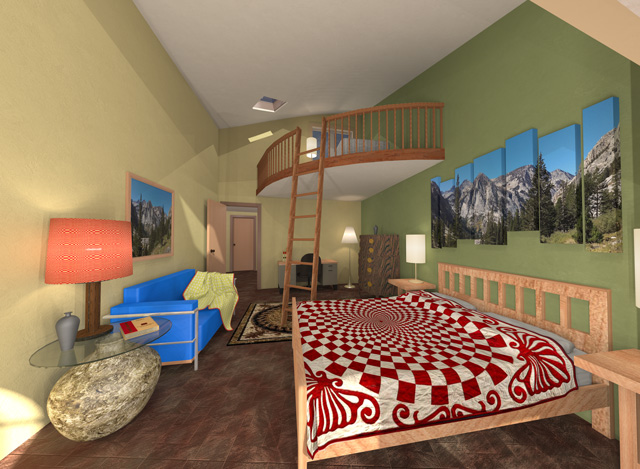 Cob Village Final Render of Southeast Living Space, One Community