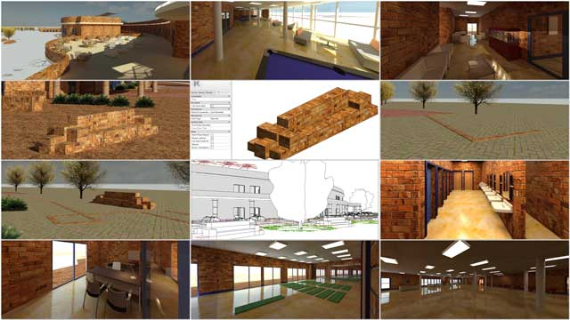 Hamilton Mateca (AutoCAD and Revit Drafter and Designer) also finished his 34th week helping with the Compressed Earth Block Village (Pod 4) design and render details. This week's focus was several first-generation renders of various common space and creating additional bench components for the outside renders, all shown here.