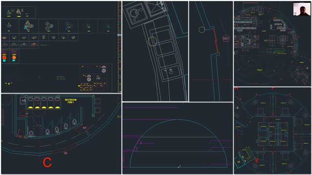 Renan Dantas (Mechanical Engineer) continued with his 11th week working on the Duplicable City Center AutoCAD updates. This week's focus was finishing layer and color updates and the majority of integrating the new dome geometry into the Master File, then moving windows, new furniture placement, and beginning to update the elevations. All of which is shown here.