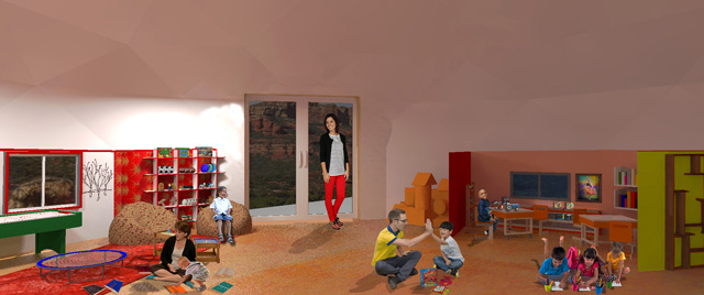 Entry-Between-Red-and-Orange-Room-Final-Guy-b209-640, Guy Grossfeld (Graphic Designer) also continued adding people and elements from the Learning Tools and Toys research we've done to create these three final renders of the red and orange room aspects of The Ultimate Classroom.
