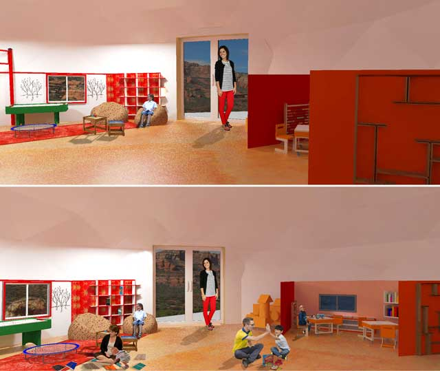 Guy Grossfeld (Graphic Designer) also began adding people and then researched Learning Tools and Toys to create these second-generation renders for The Ultimate Classroom.