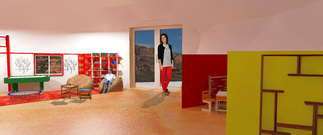 Guy Grossfeld (Graphic Designer) also continued adding people and elements from the Learning Tools and Toys research we've done to create these three final renders of the red and orange room aspects of The Ultimate Classroom.