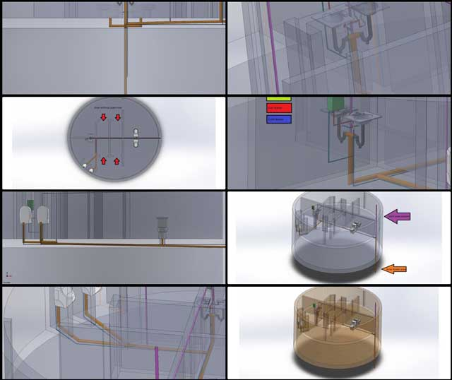 Christian Ojeda (Mechatronic Engineer) completed his 7th week helping with the heat-recycling Communal Eco-shower and Vermiculture Bathroom designs. This week's focus was 2nd generation modeling of the vermiculture hot and cold water and septic piping details, as shown here: