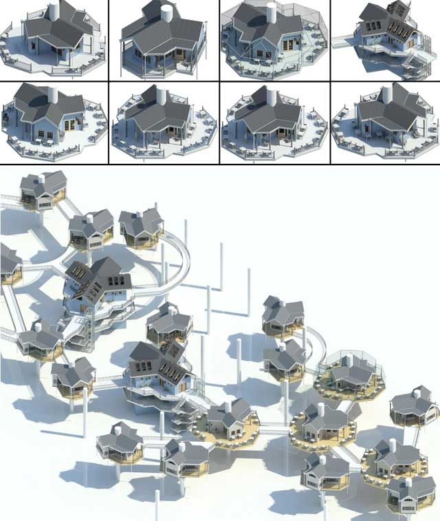 Jiming Chen (Designer with his Master's in Architecture and BA in Engineering) also continued helping develop the Tree House Village (Pod 7). What you see here is his 14th week of this work focusing on 3rd-generation renderings of each of the different tree house structures shown here…. also this 4th-generation render of half the complete village.