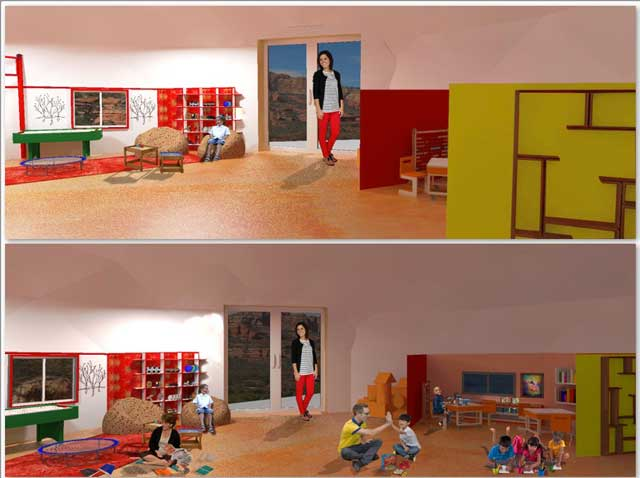 Guy Grossfeld (Graphic Designer) also continued adding people and then researched Learning Tools and Toys to create these 3rd-generation renders for The Ultimate Classroom.
