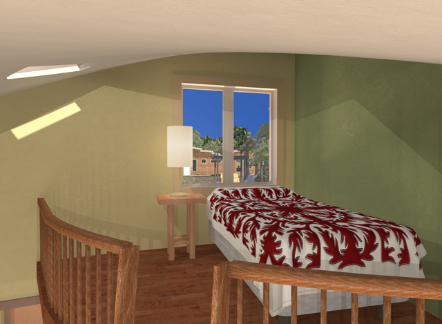 Dean Scholz (Architectural Designer) continued helping us create quality Cob Village (Pod 3) renders. Here is update 66 of Dean's work. This week Dean finished this final render of the Loft view looking North