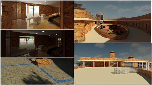 Hamilton Mateca (AutoCAD and Revit Drafter and Designer) also finished his 37th week helping with the Compressed Earth Block Village (Pod 4) design and render details. This week's focus was more updates to the brick patterns and test rendering a room, and two perspectives for the rooftop patio area.