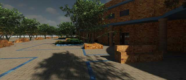 Hamilton Mateca (AutoCAD and Revit Drafter and Designer) also finished his 38th week helping with the Compressed Earth Block Village (Pod 4) design and render details. This week's focus was finalizing the brick pattern updates and re-adding in the indigo trim details for the building itself, as shown in the render here: