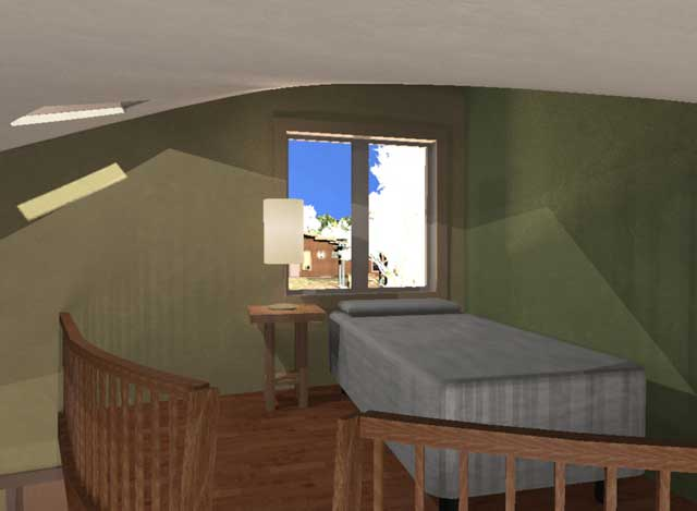 Cob Village test render, loft view looking North