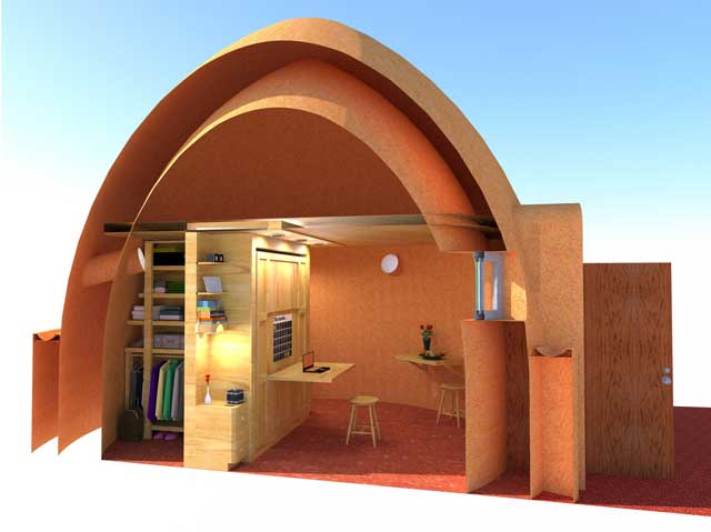 Also related to the Earthbag Village, we created this cutaway view of the Murphy bed inside one of the domes. To create this we added lights, items for the closet, side tables, and stools inside the dome.