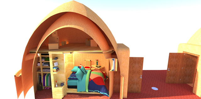 In addition to this, and working on the Earthbag Village, we updated this final open-bed view of the Murphy bed inside one of the domes: