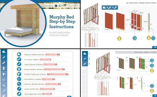 Murphy Bed instructions in progress, blog 212, We also continued working on the detailed Earthbag Village furniture construction instructions for the Murphy Beds. Here are some of the different concept layouts we created and explored this week.