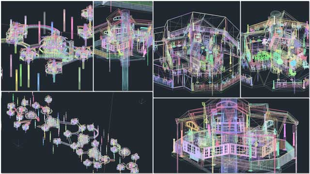 Guy Grossfeld (Graphic Designer) helped create these AutoCAD exports of the Tree House Village (Pod 7) in 3D