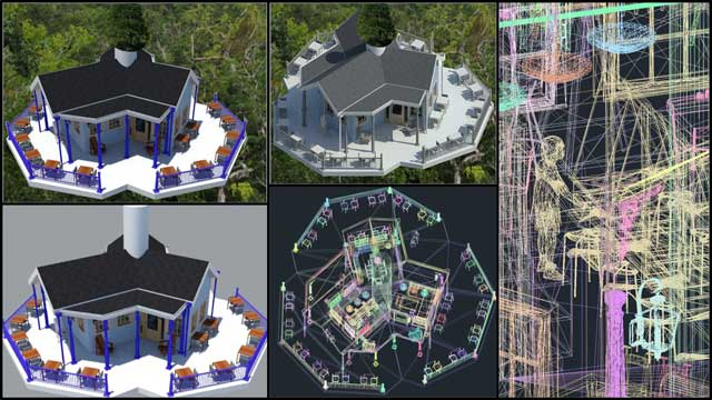 Guy Grossfeld (Graphic Designer) began helping with the Tree House Village (Pod 7) renders and layouts with some initial color changes, a new AutoCAD export, and background testing, as shown here: