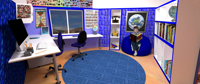 Guy Grossfeld (Graphic Designer) also continued adding people and elements from the Learning Tools and Toys research we've done to create these two final renders of the blue and and indigo rooms from The Ultimate Classroom.