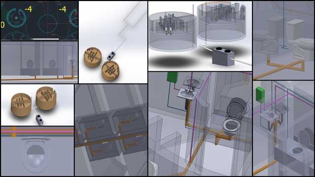 Christian Ojeda (Mechatronic Engineer) completed his 8th week helping with the heat-recycling Communal Eco-shower and Vermiculture Bathroom designs. This week's focus was autoCAD updates and adding in the urine separating toilet piping details to SolidWorks as shown here.