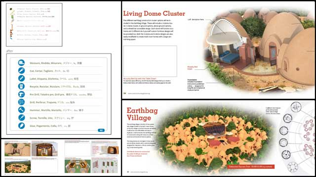 We also made text and formatting updates to the Earthbag Village book pages 20 to 25, creating a new One-Acre Footprint image for page 22, and started working the the detailed Earthbag Village furniture construction instructions for the Murphy Beds.
