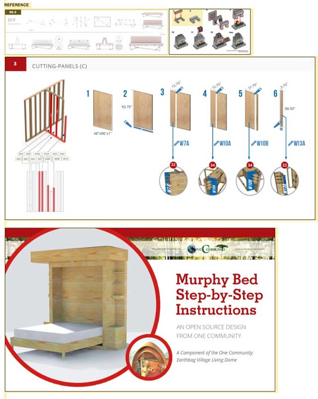 We also continued working on Murphy bed assembly instructions. What you see here are the new cover design and the newest instructional template for cutting pieces.