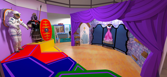 Ultimate classroom render, purple room, blog 212, The core team also continued creation of the renders for The Ultimate Classroom, adding costumes and other aesthetic elements to the purple room.
