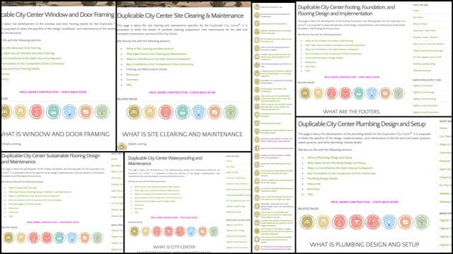 This week the core team created 6 new pages and updated the Duplicable City Center main open source hub to include them all. You can see examples of this work here
