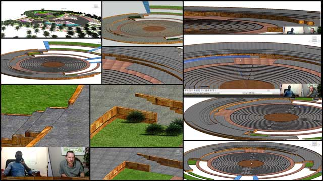 Hamilton Mateca (AutoCAD and Revit Drafter and Designer) also finished his 42nd week helping with the Compressed Earth Block Village (Pod 4) design and render details. This week's focus was continued work on the landscaping elevation and layout details around the meditation labyrinth, as shown here.