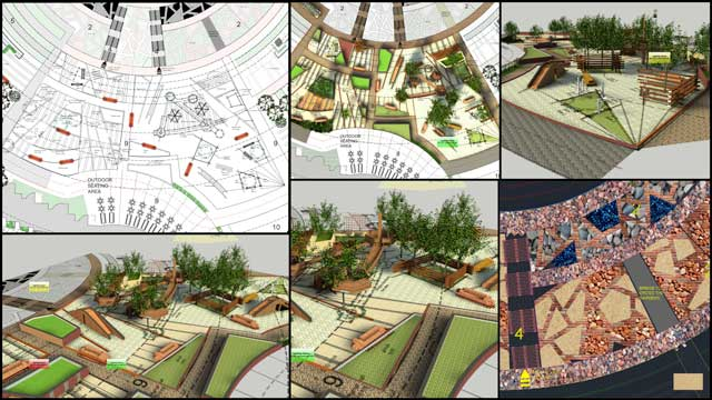 Aparna Tandon (Architect) continued her work on the Compressed Earth Block Village external elements. What you see here is her 25th week of work, focusing on further 3D visualizations and development of Zone 9 exercise spaces, raised planters, climbing bridges, and seating areas, as shown here.