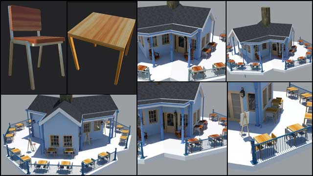 And Guy Grossfeld (Graphic Designer) continued helping with the updates to the Tree House Village (Pod 7) furniture and building textures, as shown here: