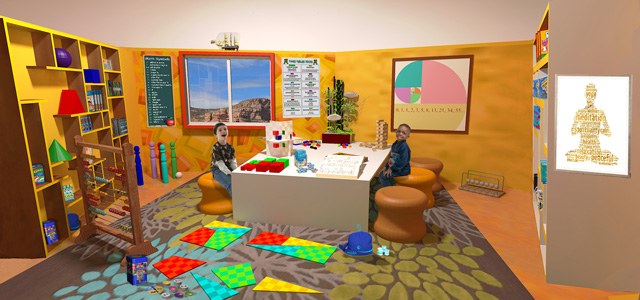 Guy Grossfeld (Graphic Designer) also continued adding people and elements from the Learning Tools and Toys research we've done to create this final render of the Ultimate Classroom Yellow Room: