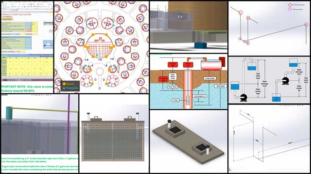 Christian Ojeda (Mechatronic Engineer) completed his 15th week helping with the heat-recycling Communal Eco-shower and Vermiculture Bathroom designs. This week's focus was more septic research and piping design, chamber design, pump details, and starting to explore locations for water fountains and spigots.