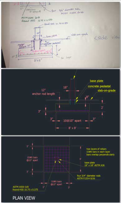 This week the core team took the hand drawings from Jin Yu (Structural Engineering Designer) and converted them into the version 1.0 AutoCAD drawings shown here.