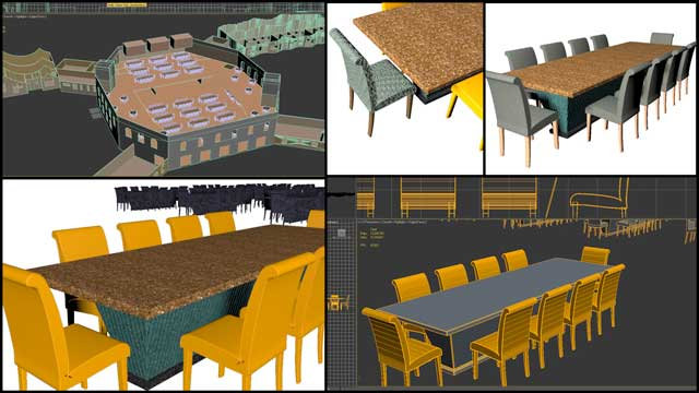Dean Scholz(Architectural Designer)continued helping uscreate qualityCob Village (Pod 3)renders. Here is update 74 of Dean'swork,this week's focus was building table and chair details needed for the central dining and presentation space renders.