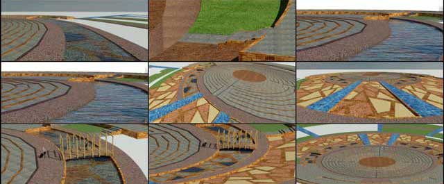 Hamilton Mateca (AutoCAD and Revit Drafter and Designer) also finished his 43rd week helping with the Compressed Earth Block Village (Pod 4) design and render details. This week's focus was continued work on the landscaping elevation, textures, and layout details around the meditation labyrinth, as shown here.
