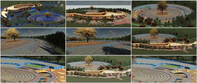 Hamilton Mateca(AutoCAD and Revit Drafter and Designer)also finished his 45th week helping with the Compressed Earth Block Village (Pod 4)design and render details.This week's focuswas adding additional blue brick details to the labyrinth area and a new round of complete village test renders.