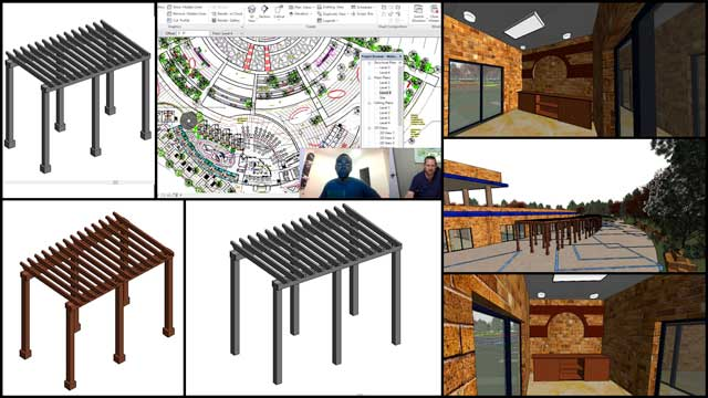 Hamilton Mateca(AutoCAD and Revit Drafter and Designer)also finished his 46th week helping with the Compressed Earth Block Villagedesign and render details.This week's focuswas building and adding pergolas to the layout, as shown here.