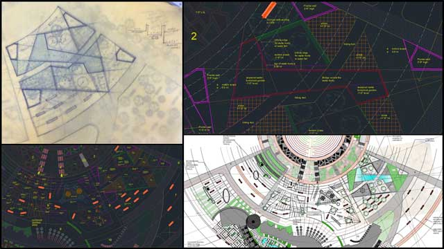 Aparna Tandon (Architect) continued her work on the Compressed Earth Block Village external elements. What you see here is her 26th week of work, focusing on Zone 7 designs and visualizations, as shown here.