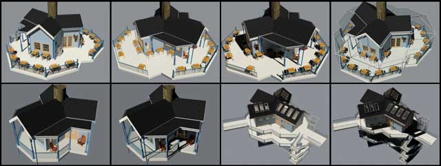 And Guy Grossfeld (Graphic Designer) continued helping with the updates to the Tree House Village (Pod 7) furniture and building textures, as shown here.