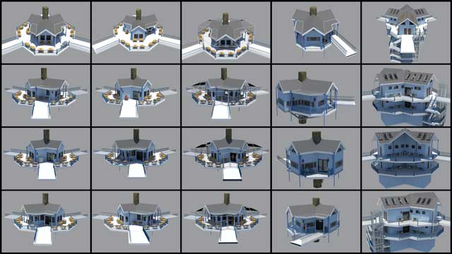 AndGuy Grossfeld(Graphic Designer)continued helping with the updates to theTree House Village (Pod 7)furniture and building textures. What you see here are 4th-generation renders of the kitchen, bathroom and shower structures, library, playroom, and residential structures.