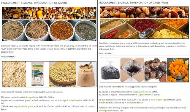 This week,the core team created two new sections under bulk goods on the Food Self-sufficiency Transition Plan page, one section for grains and one for dried fruits, and added the images and procurement details that you see here: