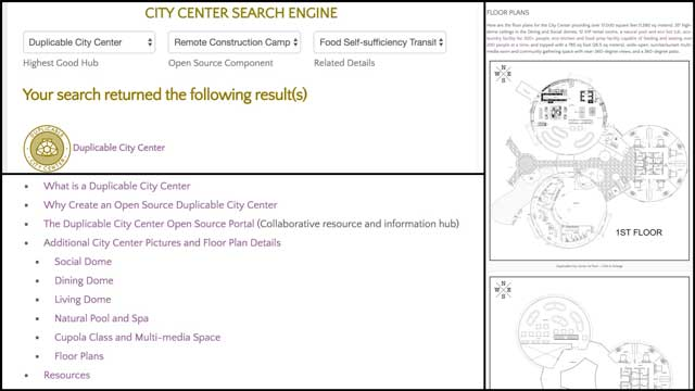 This weekthe core teamadded the new search engine to theCity Center open source hub and finalized updating the formatting of that page to match the updatedEarthbag Village andStraw Bale Village pages.