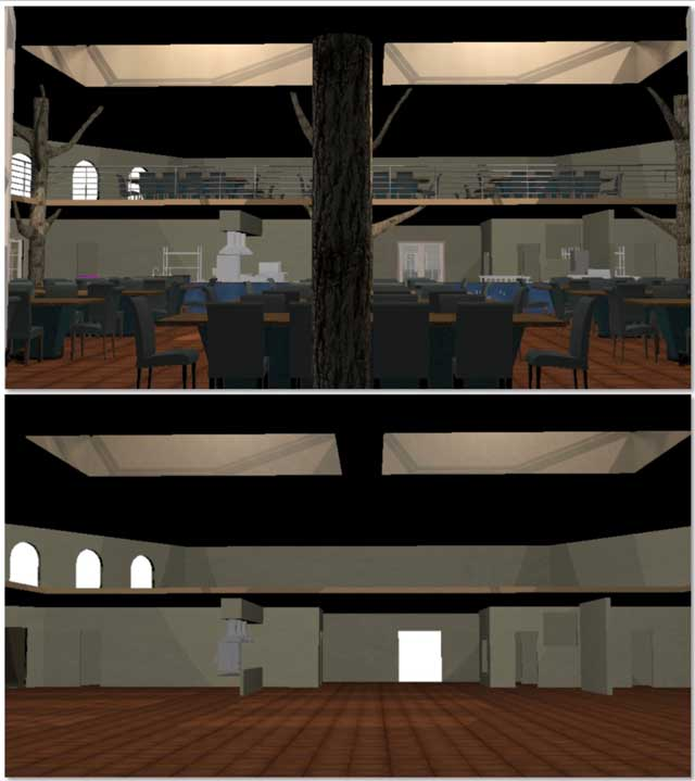 Dean Scholz (Architectural Designer) continued helping us create quality Cob Village (Pod 3) renders. Here is update 77 of Dean's work, this week's focus was lighting and more object placement in the dining and presentation area, as shown here.