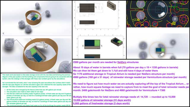 Christian Ojeda(Mechatronic Engineer) completed his 17thweek helping with the heat-recyclingCommunal Eco-showerandVermiculture Bathroomdesigns. This week's focus was another round of updates and revisions to the water storage layouts, as shown here.